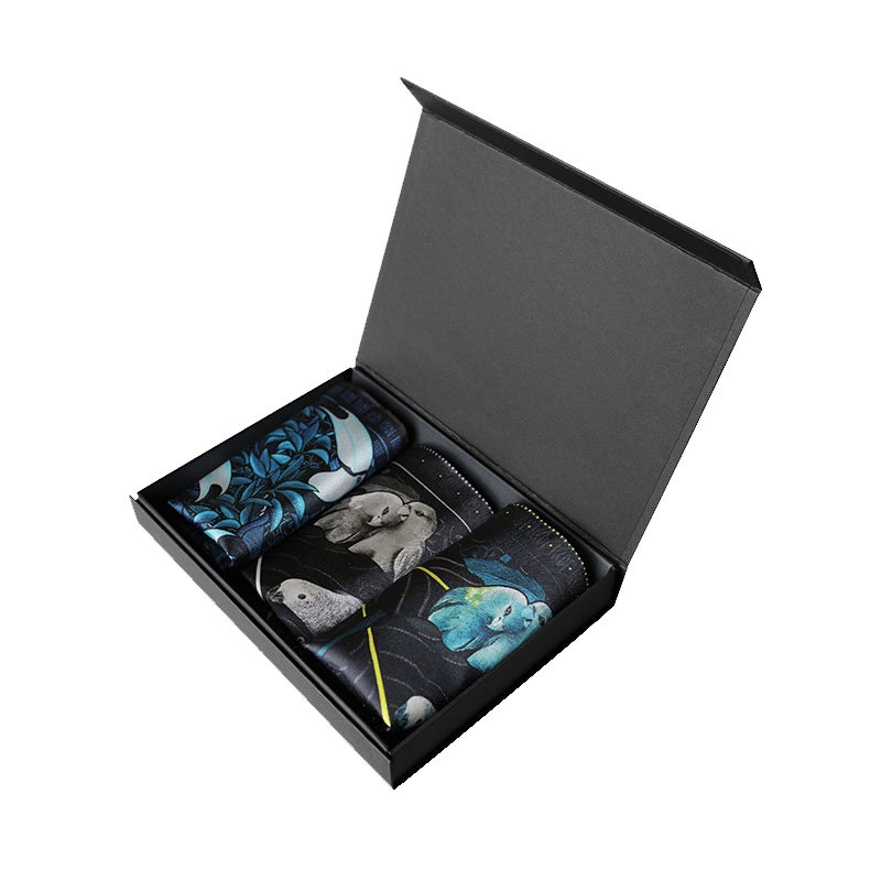 packaging1_coffret_trois_pochettes_homme_soie_oiseaux_made_in_France_maison_fetiche Les coffrets de pochettes homme Maison Fétiche